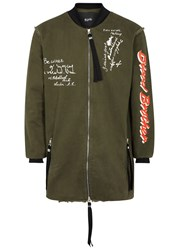 Blood Brother Beware Army Green Printed Cotton Jacket