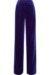 Akris Flore Stretch Velvet Wide Leg Pants Blue