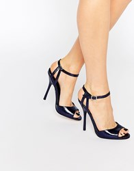 Little Mistress Tia Cracked Effect Heeled Sandals Navy