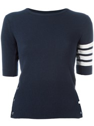 Thom Browne Shortsleeved Knit Top Blue