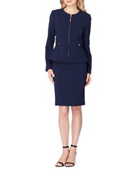 Tahari By Arthur S. Levine Peplum Two Piece Jacket And Skirt Suit Navy