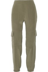 Theory Hamtana Silk Crepe De Chine Straight Leg Pants Army Green