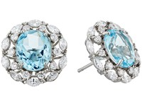 Nina Raven Crystal Stud Earrings Pallad Light Blue Topaz White Cz Earring