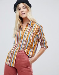 Miss Selfridge Stripe Shirt In Multi