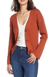 Leith Plus Size Rib Knit Cardigan Brown Spice