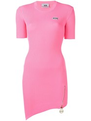 Gcds Ribbed Fitted Dress Pink