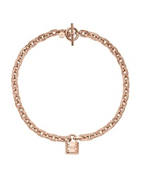 Michael Kors Chain Link Padlock Toggle Necklace 16 Rose Gold