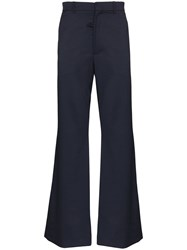 Martine Rose Flared Wool Trousers Blue
