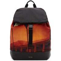 Paul Smith Orange And Black Paul's Photo Cotton Backpack