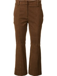 Tibi Suede Flared Pants Brown