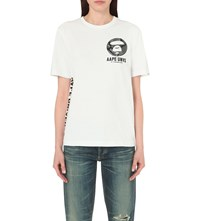 Aape By A Bathing Ape Theme Print Cotton T Shirt White