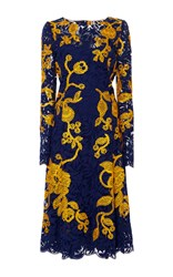 Oscar De La Renta Navy And Yellow Embroidered Lace Dress Blue