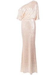 Badgley Mischka Off Shoulder Sparkle Gown Neutrals