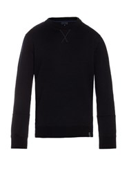 Lanvin Crew Neck Wool Blend Sweatshirt Navy