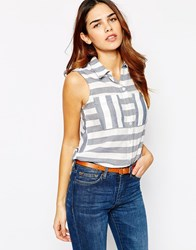 Warehouse Striped Sleeveless Shirt Multi