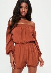 Missguided Brown Bardot Cheesecloth Pom Pom Short Playsuit