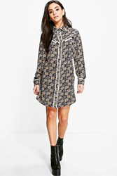 Boohoo Ann Ditsy Floral Contrast Piping Shirt Dress Multi