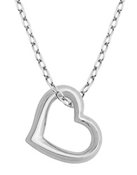 Lord And Taylor Rhodium Plated Sterling Silver Open Heart Pendant Necklace