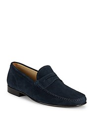 Massimo Matteo Perforated Suede Penny Loafers Navy