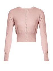 The Vampire's Wife Round Neck Silk And Cashmere Blend Cardigan Light Pink