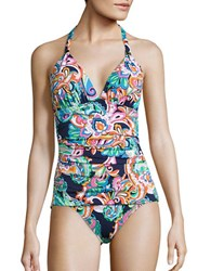 Tommy Bahama Mare Paisley Halter One Piece Swimsuit Mare Navy