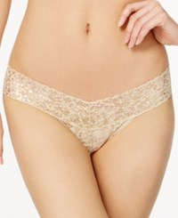 Hanky Panky Golden Leopard Sheer Lace Low Rise Thong 4F1586 Sand