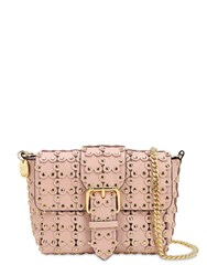 Red V Small Flower Puzzle Leather Bag Light Nude