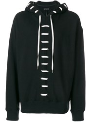 D.Gnak Lace Up Hoodie Black