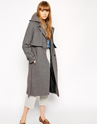 Asos Coat With Trench Details And Belt Grey