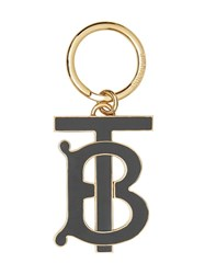Burberry Monogram Motif Gold Plated Key Charm Black