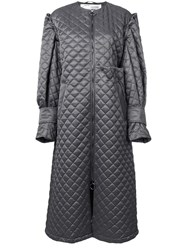 Off White Quilted Long Coat Grey