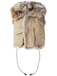 Dsquared2 Furry Military Vest Nude Neutrals