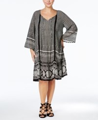 Ny Collection Plus Size Multi Print Peasant Dress Black White