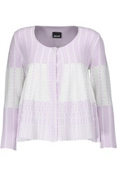 Just Cavalli Stretch Jacquard Knit Cardigan Lavender