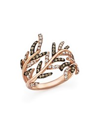 Bloomingdale's White Diamond And Brown Diamond Band Ring In 14K Rose Gold