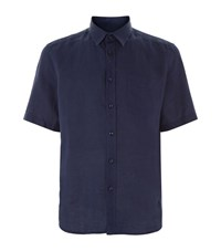 Vilebrequin Caramel Short Sleeve Linen Shirt Male Navy