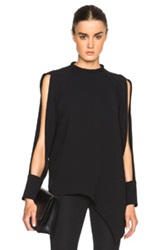 Nicholas Crepe Slash Sleeve Top In Black