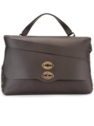 Zanellato Flap Closure Briefcase Brown