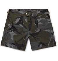 Tom Ford Slim Fit Mid Length Camouflage Print Swim Shorts Army Green