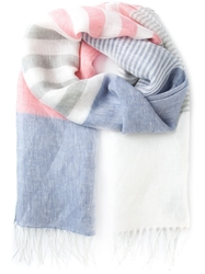 Canali Fringed Striped Scarf Multicolour