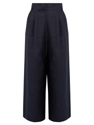 Tibi Hessian Linen Cropped Trousers Navy
