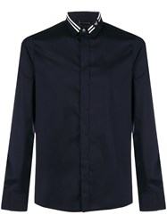 Emporio Armani Logo Striped Collar Shirt Blue