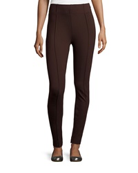 Neiman Marcus Center Seam Slim Leg Ponte Pants Brown