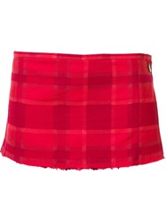 Vivienne Westwood Plaid Pattern Micro Kilt Red