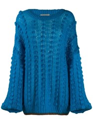 Marco De Vincenzo Oversized Pompom Jumper Blue