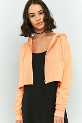 Cooperative Full Zip Cropped Hoodie Sweatshirt Peach