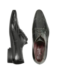 Fratelli Borgioli Handmade Black Eel Leather Wingtip Dress Shoes