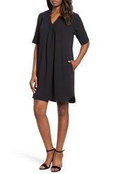 Bobeau Pleat Front Curved Hem Shirtdress Black