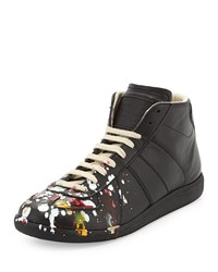 Maison Martin Margiela High Top Lace Up Sneaker Black Splatter