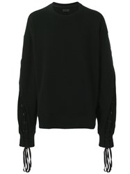 D.Gnak Lace Up Sleeve Sweatshirt Black